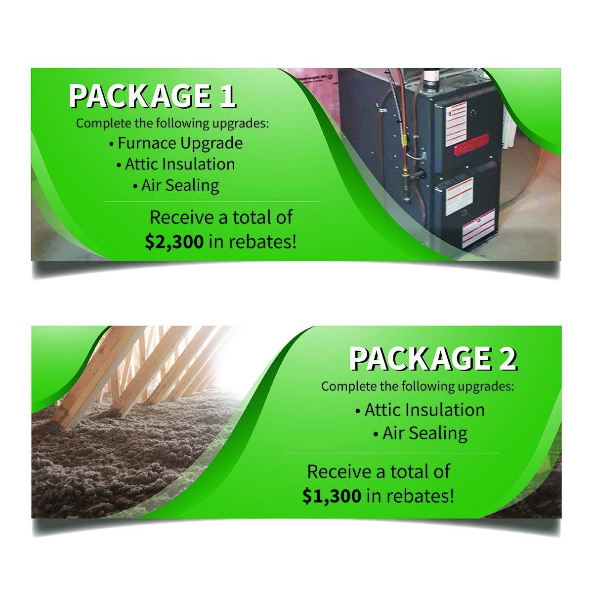 Promo packages from the Home Efficiency Rebate